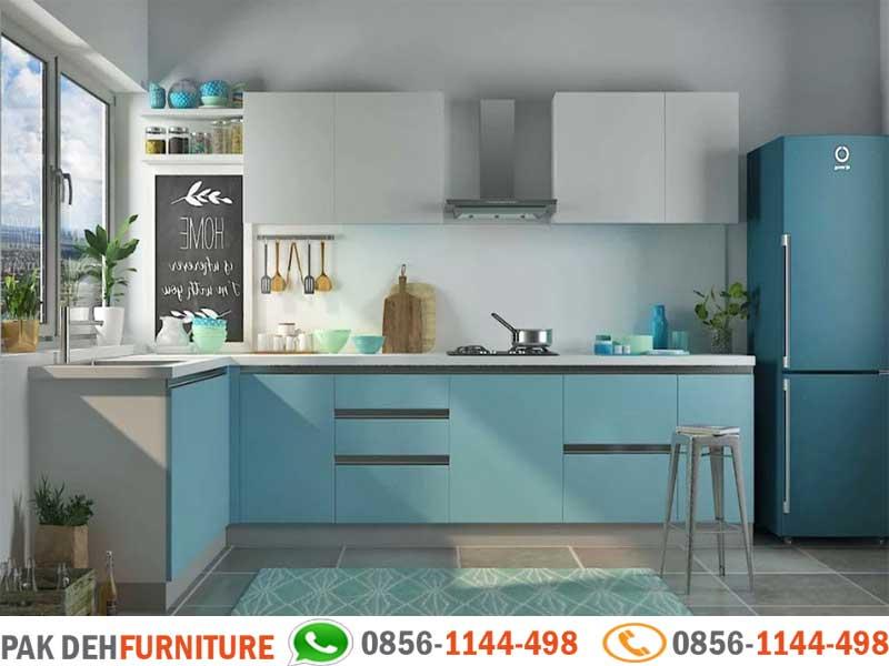 Bentuk L Kitchen Set Biru Dan Putih Jasa Pembuatan Kitchen Set Murah Jakarta Bogor Depok Tangerang Dan Bekasi