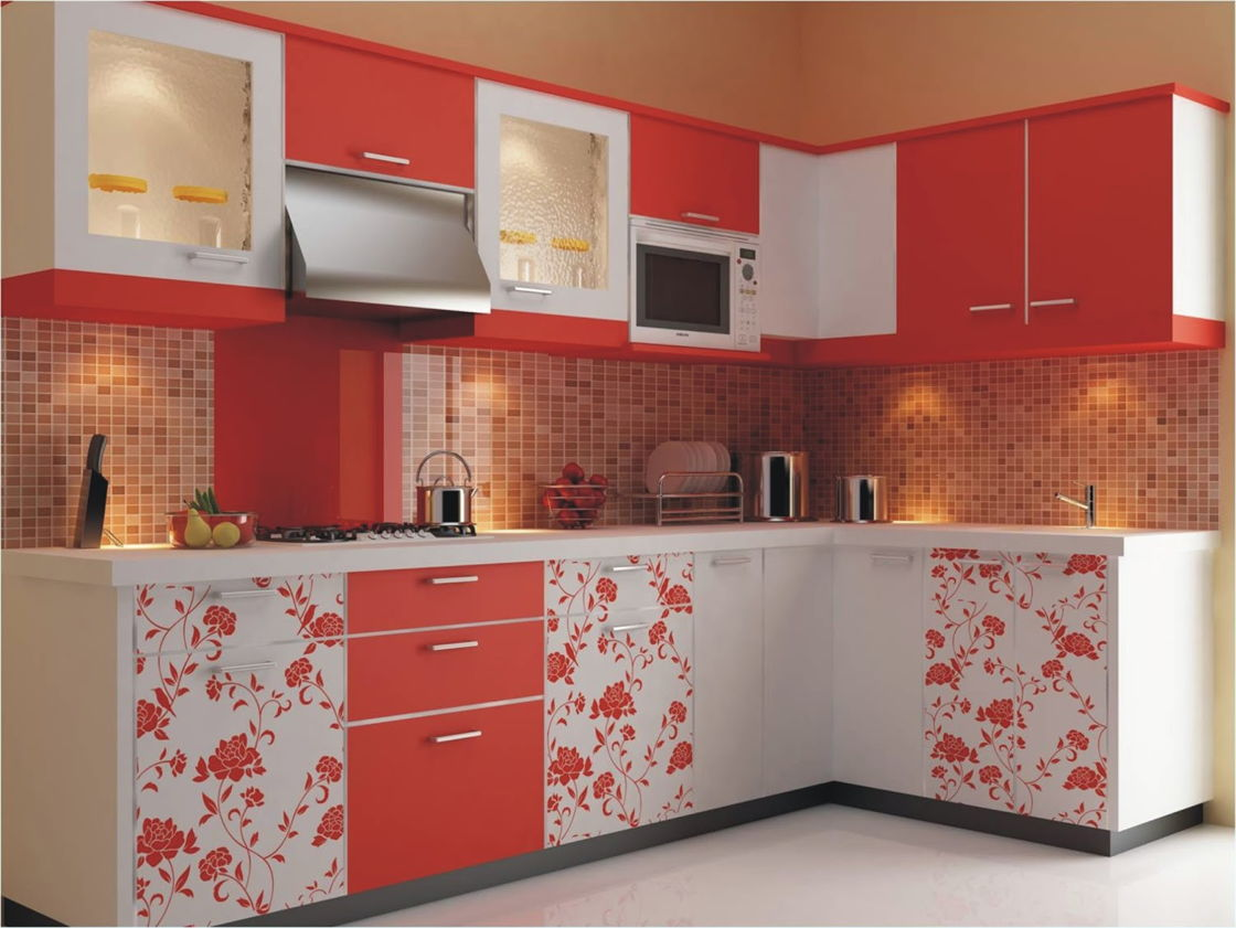 Foto Kitchen Set Warna Merah Motif Bunga