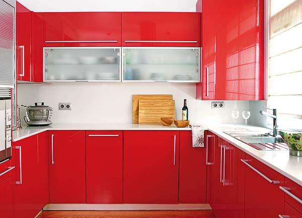 Gambar Kitchen Set Warna Merah