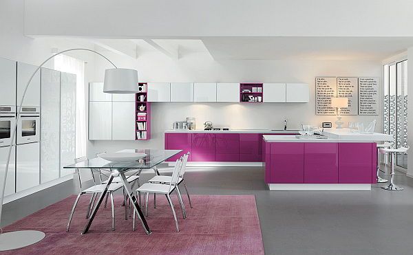 Gambar Kitchen Warna Ungu Glossy