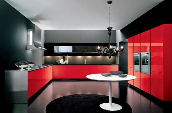 contemporary model kitchen aluminium warna merah