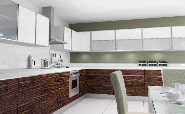 kitchen set kaca dengan aluminium