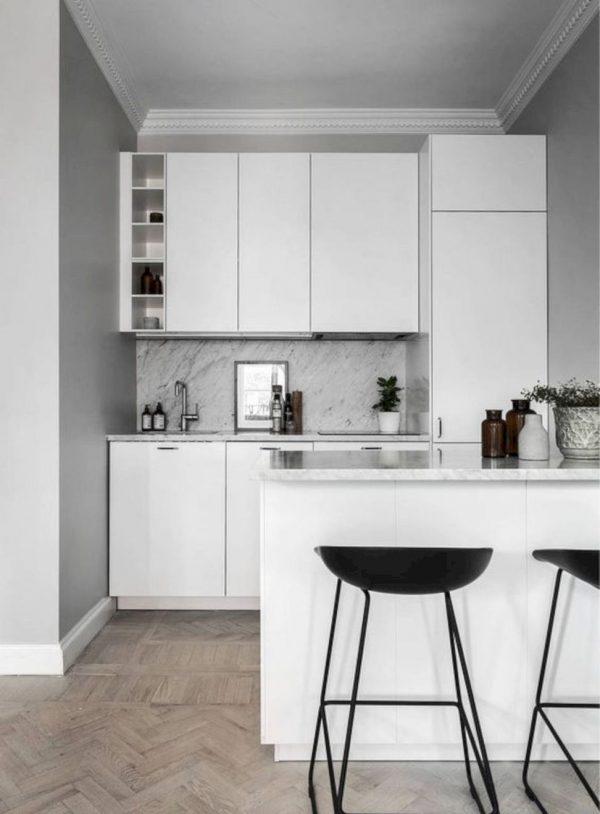 model kitchen set aluminium apartemen dengan mini bar
