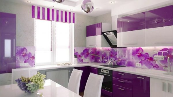 model kitchen set aluminium warna ungu