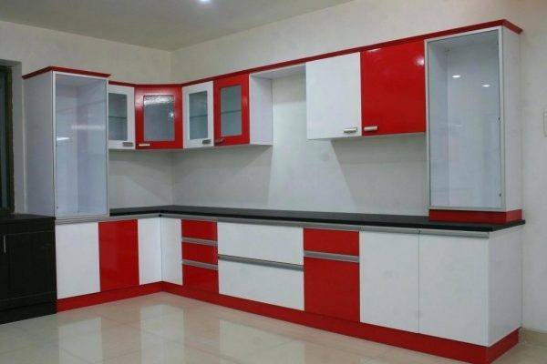 model kitchen set warna merah Dan Putih
