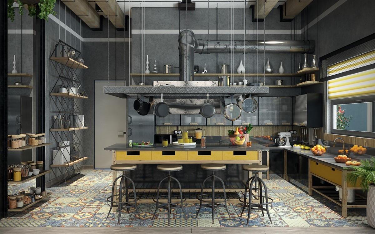 Desain Dapur Modern Ukuran 3x3 Industrial Style