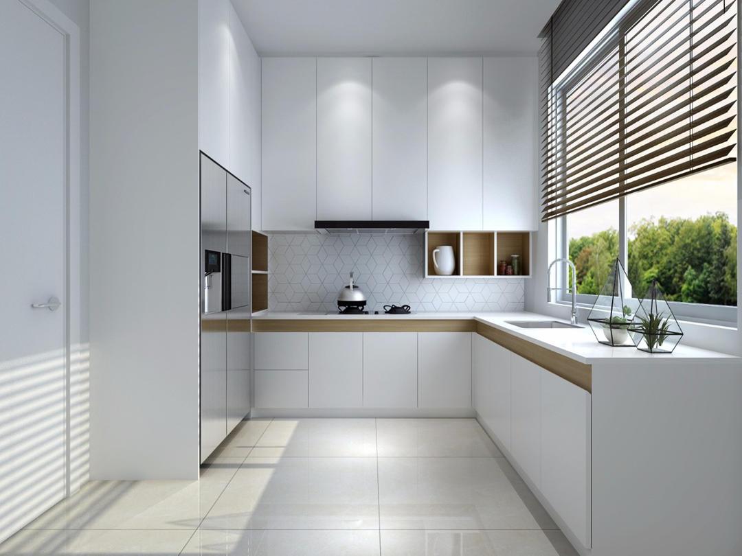 Desian Dapur Sederhana Warna Putih L Shaped Ukuran 3x3