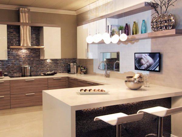 dapur minimalis dengan meja mini bar