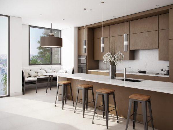 dapur minimalis dengan motif kayu