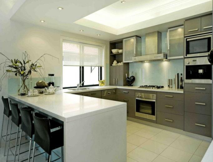 desain dapur minimalis U Shaped dengan mini bar